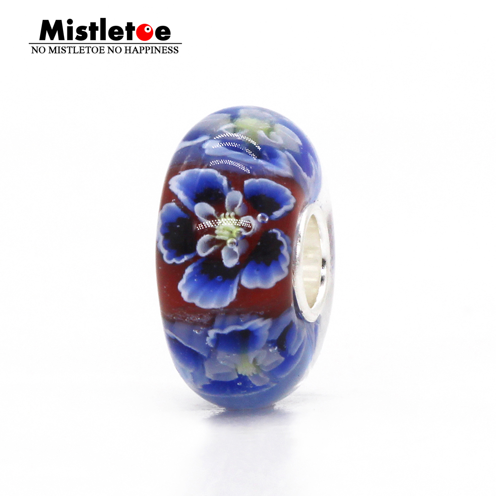 Mistletoe Jewelry 925 Sterling Silver Large Hole Blue 3D Flowers Murano Glass Charm Bead Not Original Fit European Bracelet стоимость
