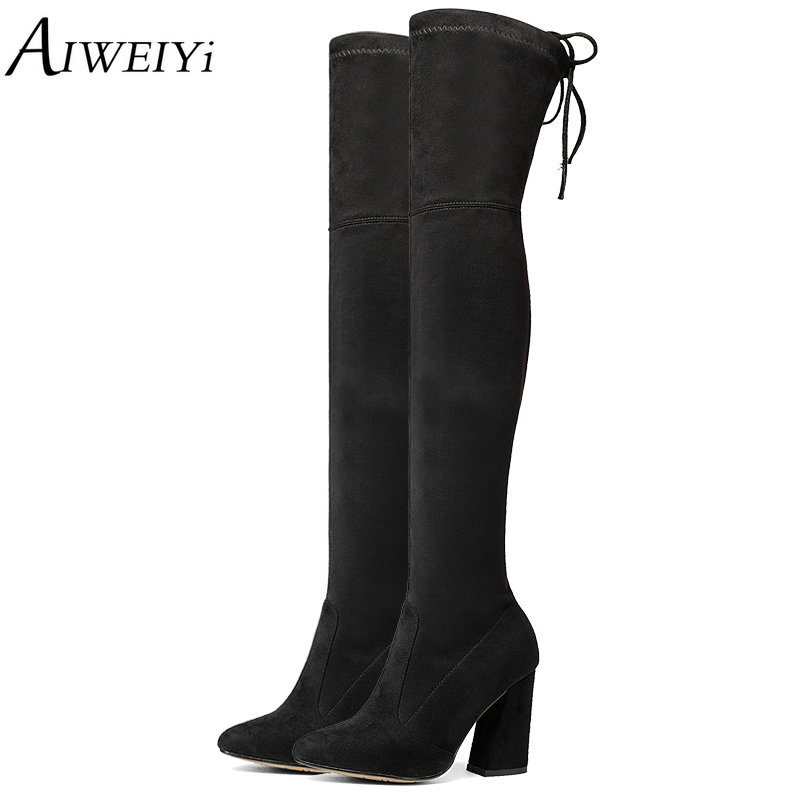 AIWEIYi Women's Over The Knee Boots Scrub Leather Square High Heel Womens Thigh High Boots Spring Autumn Shoes Woman Size 34-43