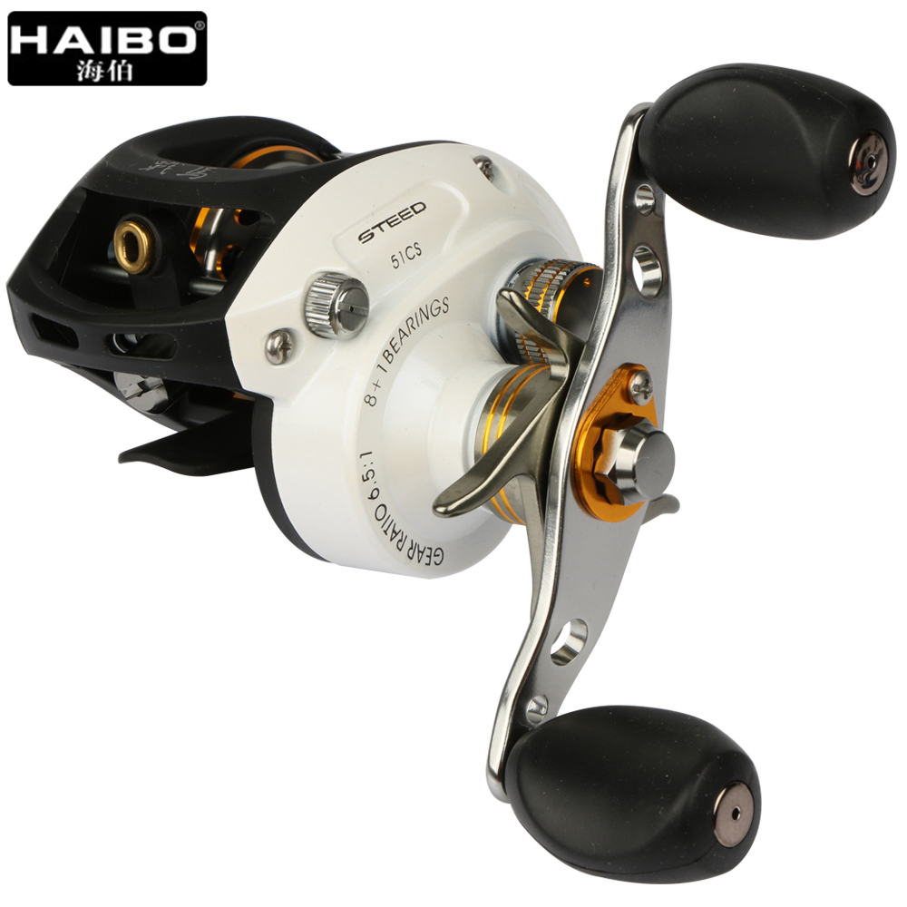 Haibo Brand STEED Fishing Reel Right / Left Hand Baitcasting Wheel 8+1BB 6.5:1 Bait Casting Reel Centrifugal Brake Pesca trolling reel 9 1bb drum wheel carp baitcasting reels centrifugal brake casting saltwater fishing reel super power drag 30kg