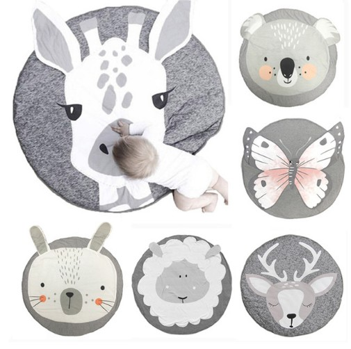 90CM Kids Play Game Mats Round Carpet Rugs Mat Cotton Swan Crawling Blanket Floor Carpet For Kids Room Decoration INS Baby Gifts