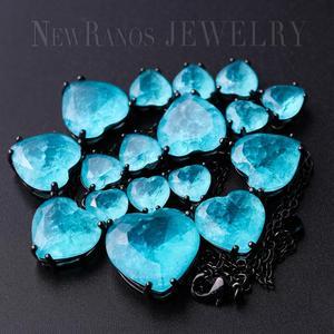 Image 4 - Newranos Hart Kristal Ketting Blauw Natuurlijke Fusion Stone Choker Ketting Voor Vrouwen Mode sieraden NFX0013124