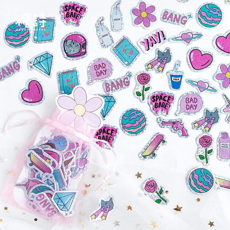 100pcs/pack Lovely Cat Decorative Adhesive Reflective Sticker Tape , Kids Craft Scrapbooking Sticker Set For Diary, Album