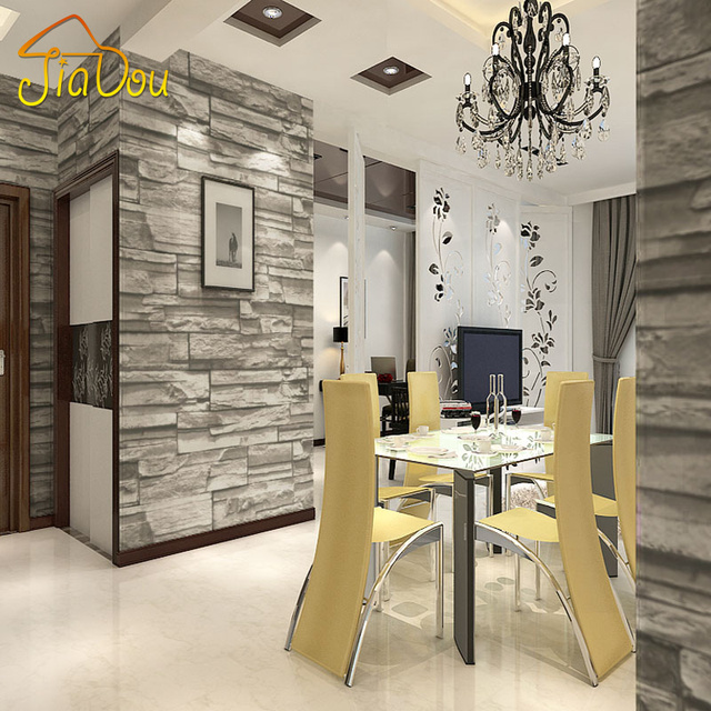Chinese Style Dining Room Wallpaper Modern 3D Stone Brick Design Background  Vinyl Wall Paper For Kitchen