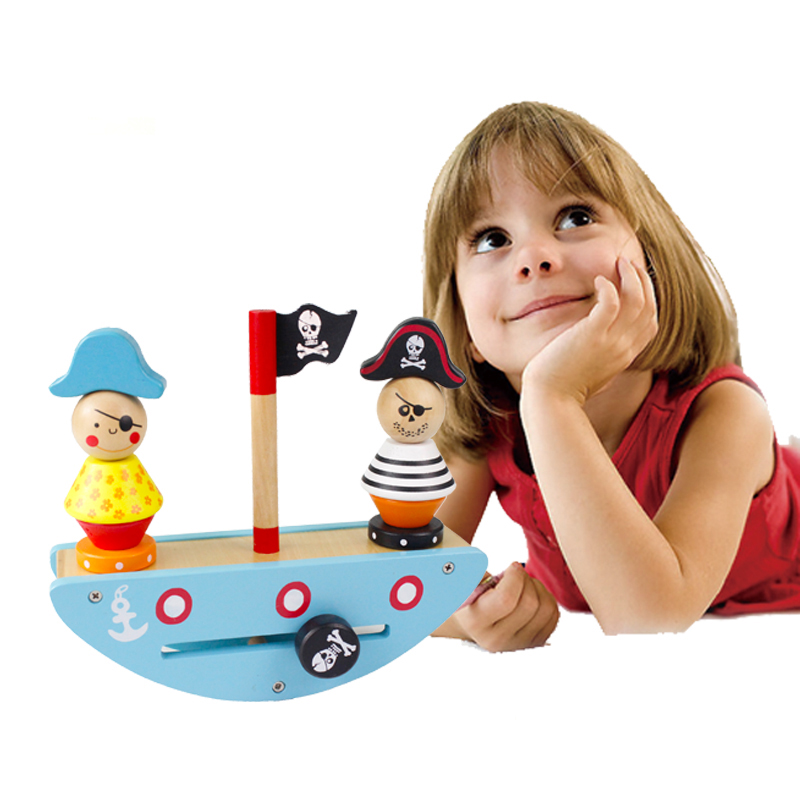 New Wooden Educational Toy Pirate Ship Balance Toys For Children Intelligence Game Balancing Blocks Kids Gift CD0864H new colorful wooden vegetables combination kitchen toys for pretend play wood building blocks children educational kids toy gift