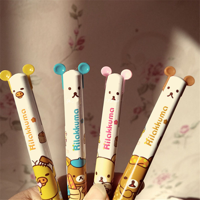 4Pcs/Lot Wholesale New Cute Cartoon Double Colors Ballpoint Pen Kawaii Cartoon Rilakkuma Ball Pen Korean Stationery Gift E0019