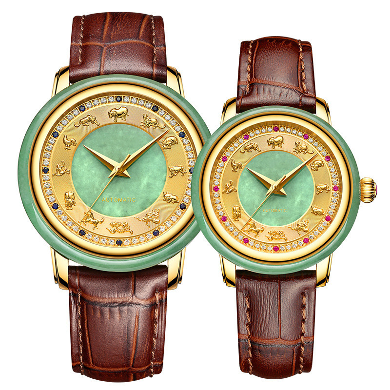 2020 Hot Sale Promotion Sale Hetian Jade Watches Custom Zodiac Chinese Wind Automatic Mechanical Watch Waterproof Couple