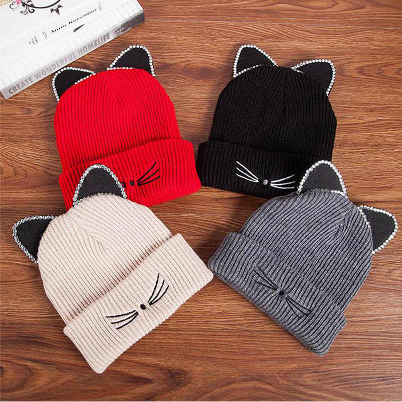 Rhinestone Cat Ear Hat Women Winter Cap Knitted Wool Solid Color Beanie Female Casual Crochet Warm Beanies