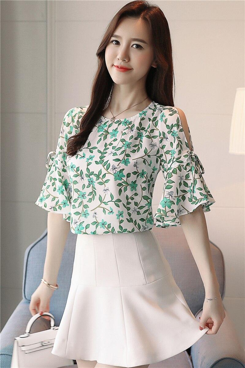New 2018 Summer Floral Chiffon Women Blouses Shirts Soft Short Sleeve Fairy Elegant Ruffled Tops Female Clothing Blusa 0235 40