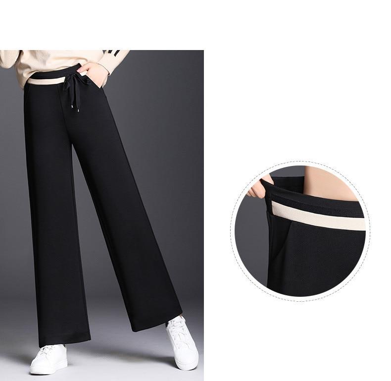 Otoño E De Nuevo Pantalones Pierna Negro Mujeres La Largos Alto Talle Relajado Punto 2018 Rectos Chic Ocasionales Engrosadas Invierno FdzvqHxwy