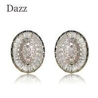 DAZZ AAA + Zircone Cubico Ovale Orecchini Colore Argento Fatti A Mano Piccola Rotonda di Rame Ear Piercing Donne di Fidanzamento Orecchino Regalo