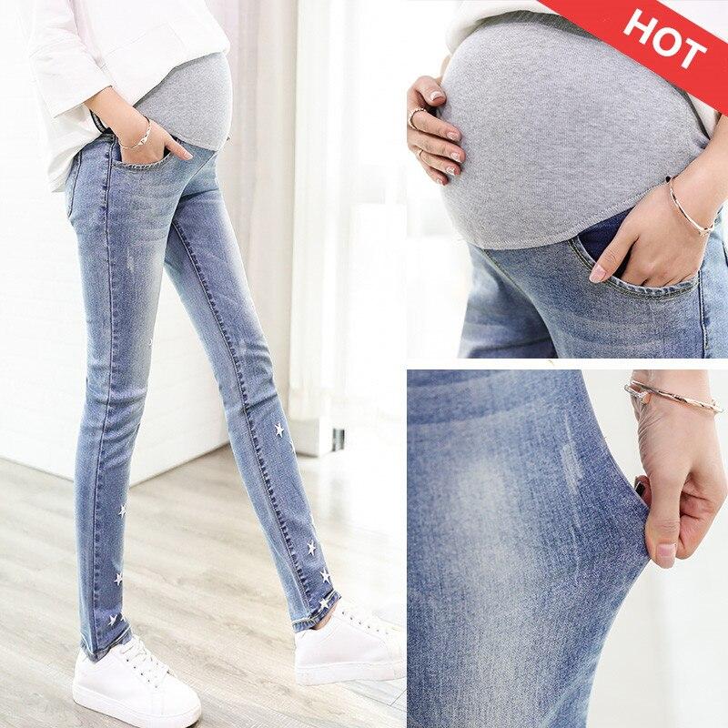 bcab90e9f Pantalones vaqueros de mezclilla para embarazadas pantalones de maternidad  ropa de talla grande Jeans elásticos para embarazadas ropa de vientre  cintura ...