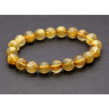 Discount Wholesale Natural Genuine Yellow Gold Needle Rutile Quartz Finished Stretch Bracelet Round Jewelry beads 10mm