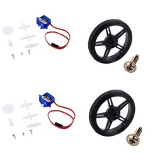 2Pcs Feetech FS90R Servo 360 Degree Continuous Rotation Micro RC Motor +2pcs Wheel For Robot Car Drones Boat Smart
