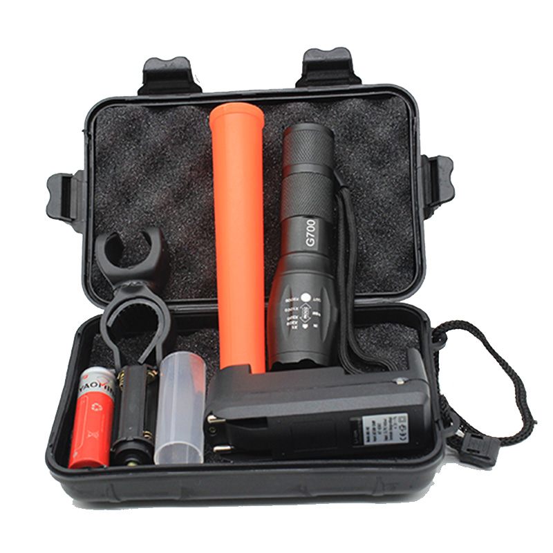 Police Linternas Cree XML T6 3800LM Tactical Military Flashlight Led + Gift Box + Charger + Red Baton + 18650 Battery Bike Light bike light 3800lm t6 led flashlight tactical flashlight led torch lamp light 18650 battery charger holder hiking camping