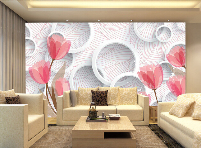Custom flowers wallpaper 3D, the circle of small red flower for the living room bedroom TV background wall waterproof wallpaper the custom of the country