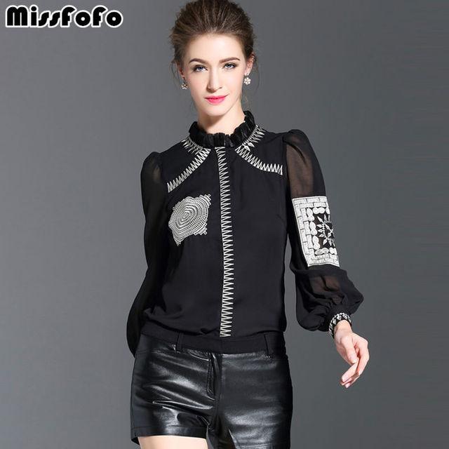 MissFoFo 2018 новая весенняя Летняя Повседневная рубашка с длинным рукавом на пуговицах однотонная Вышивка Стенд женская рубашка Белый Черный Размер s-xl