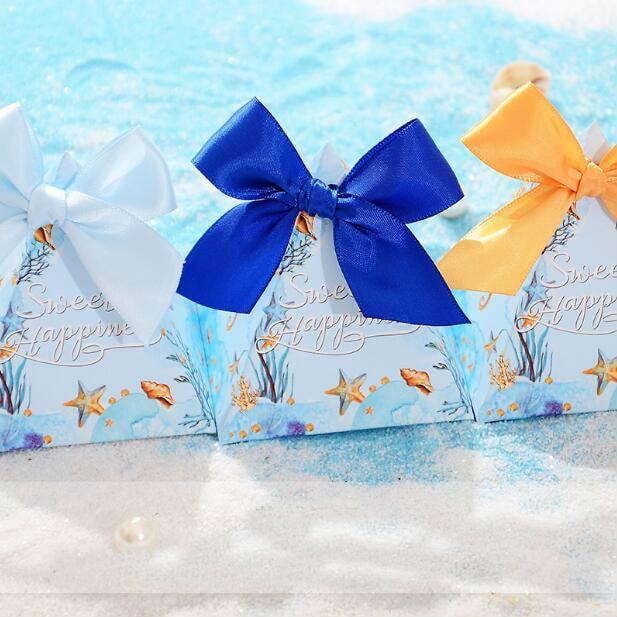 100 ピースタツノオトシゴヒトデ海のテーマの結婚式の三角錐結婚式は、キャンディボックス党ギフトチョコレートボックス Bomboniera  グループ上の ホーム&ガーデン からの ギフトバッグ & ラッピング用品 の中 1