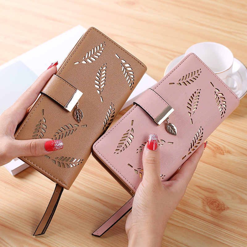 2019 Women Wallet PU Leather Purse Female Long Wallet Gold Hollow Leaves Pouch Handbag For Women Coin Purse Card Holders Clutch