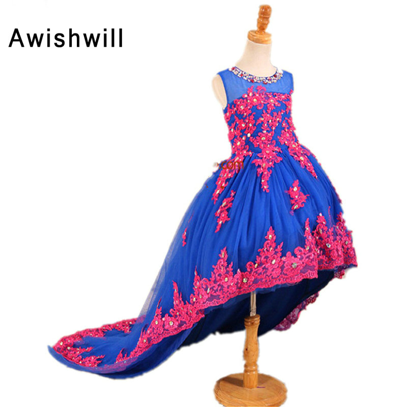 Royal Blue Pageant   Dresses   Sleeveless Appliques Tulle   Flower     Girl     Dresses   For Toddlers Teens Kids Birthday Party Communion   Dress