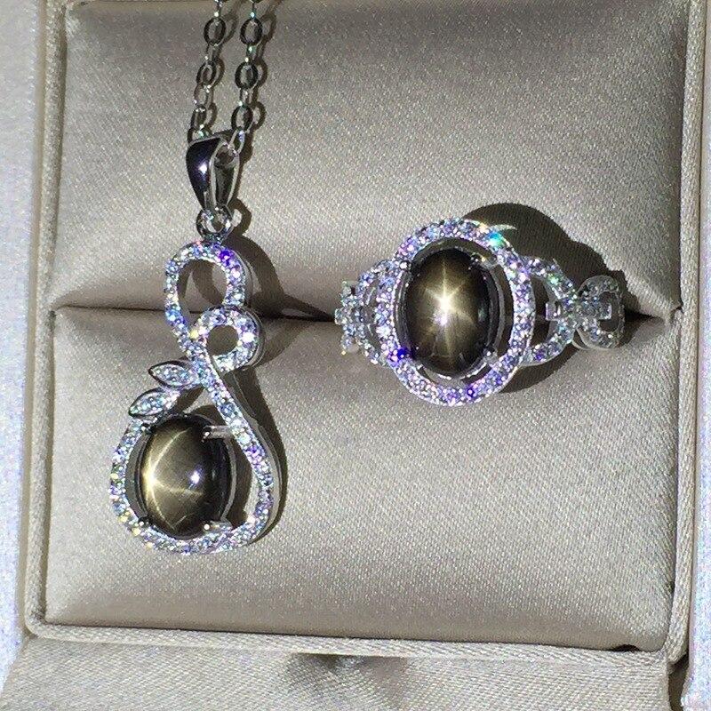 KJJEAXCMY exquisita joyería 925 Plata pura incrustado zafiro natural estrellado juego de joyería para mujer anillos colgante 2 conjuntos - 2