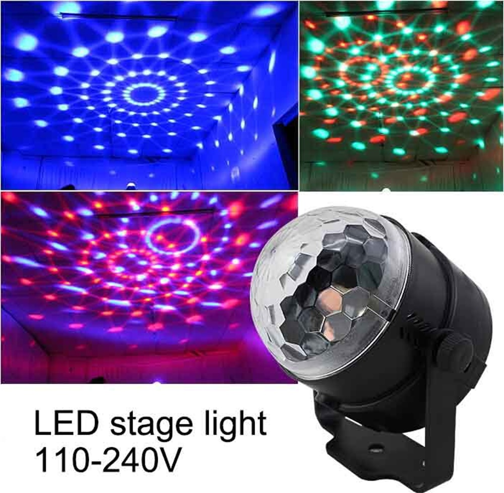 110V 220V Mini RGB LED Crystal Magic Ball Stage Effect Lighting Lamp Bulb Party Disco Club DJ Light Laser Show Lumiere Beam SL01 rg mini 3 lens 24 patterns led laser projector stage lighting effect 3w blue for dj disco party club laser