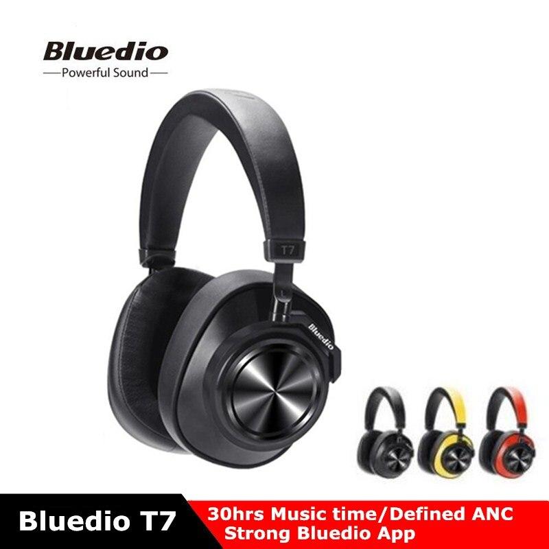 Chegada nova bluedio t7 bluetooth fones de ouvido de cancelamento de ruído ativo definido pelo usuário fone de ouvido de som de alta fidelidade com reconhecimento facial mic
