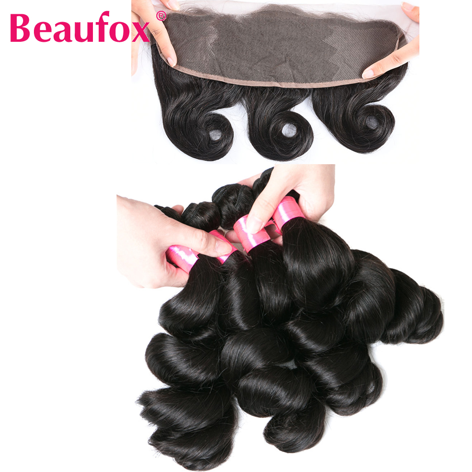 Beaufox Brazilian Loose Wave 3 Bundles With Lace Frontal Closure Remy Human Hair Lace Frontal With Bundles 4pcs/lot