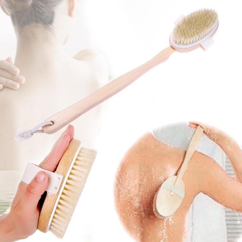 Long Wood Handle Bath Shower Brush Boar Bristles Exfoliating Body