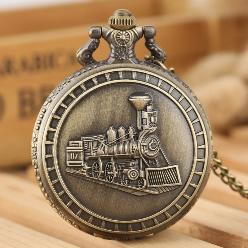 Retro Bronze Alloy Locomotive Train Pattern Quartz Pocket Watch Steampunk Antique Necklace Chain Art Collectibles For Men Women