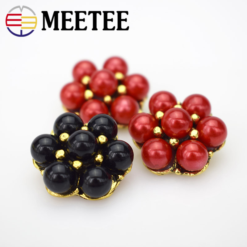 MEETEE 10pcs lot high quality 12 8mm 25mm metal White black red pearl button shirt sweater Coat fashion clothing button ZK819 in Buttons from Home Garden