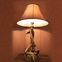 Retro Resin Antlers Design Body Table Lamp For Bedroom Abajur Lampe De Chevet De Chambre Lampara