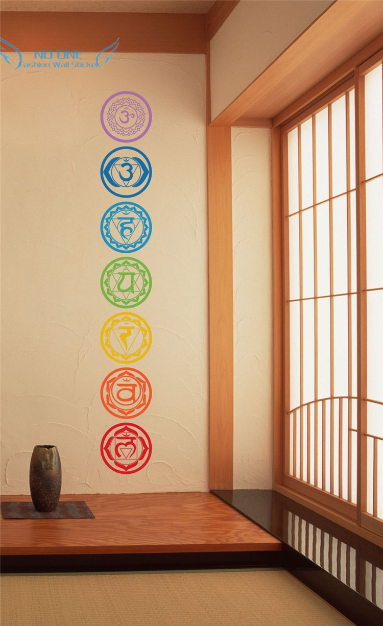 free shipping 7pcs/set Chakras Vinyl Wall Stickers Mandala Yoga Om - Home Decor - Photo 5