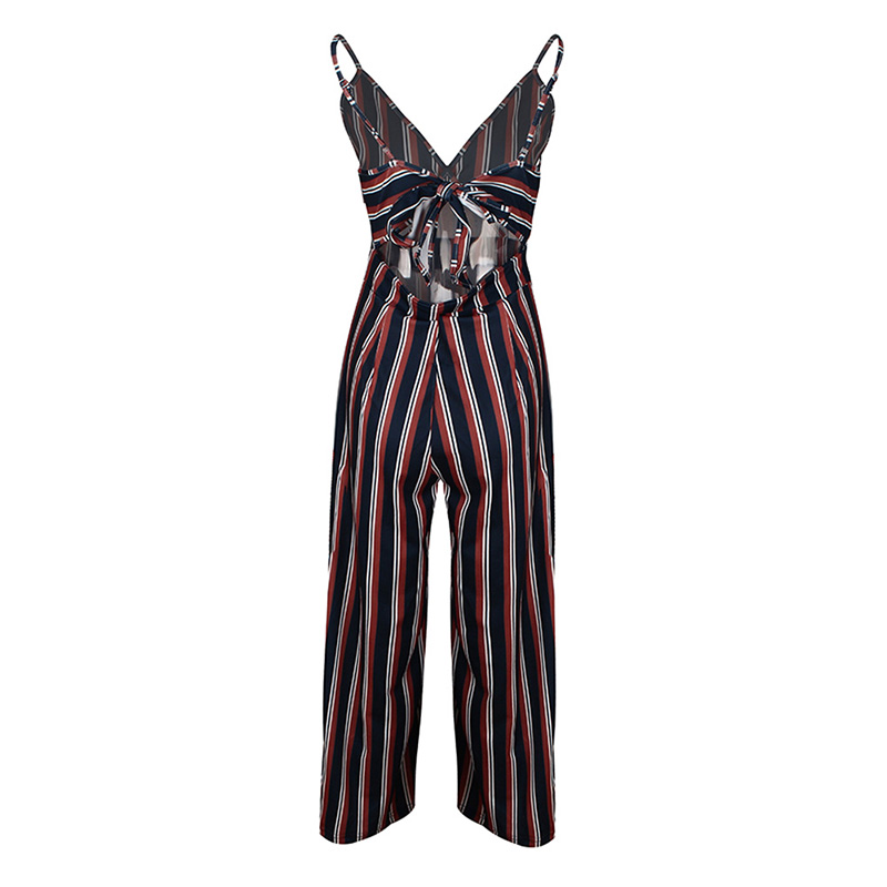 2019 Womens Strip Print Sexy V Neck Ladies Jumpsuit Sling Strapless Loose Casual Jumpsuit Pants combinaison femme in Jumpsuits from Women 39 s Clothing