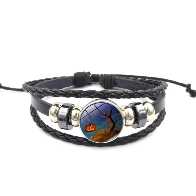 Bangles New 2018 Simple Fashion Halloween Pumpkin Time Gem Bracelet Weave Jewelry Accessories Female Hand Bracelets Leather