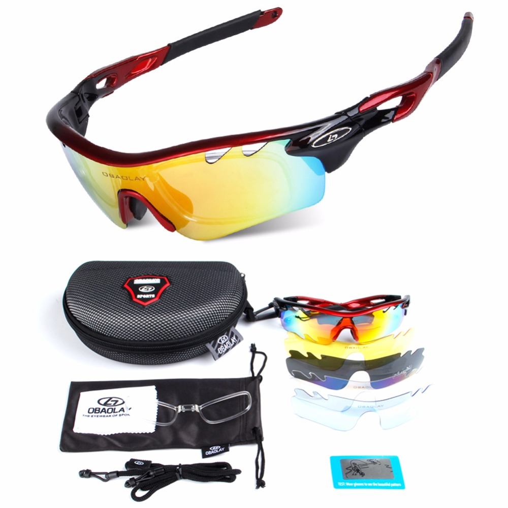 5 lens Polarized Cycling Sunglasses Sport Cycling Glasses Mens Mountain Bike Goggles UV400 Cycling Eyewear Bicycle Glasses obaolay outdoor cycling sunglasses polarized bike glasses 5 lenses mountain bicycle uv400 goggles mtb sports eyewear for unisex