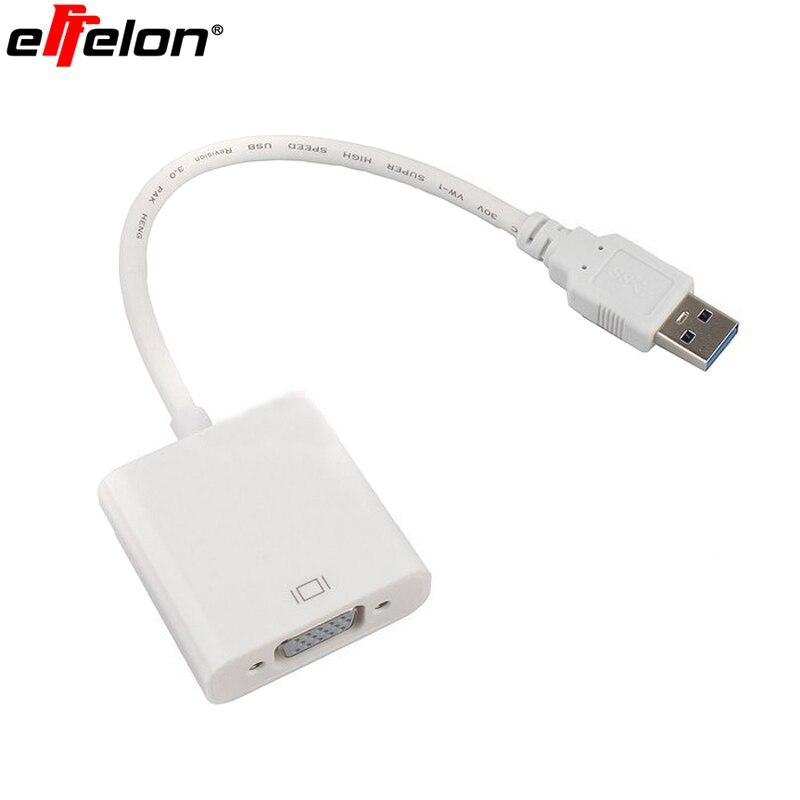 Effelon 1080 P USB 3.0 do VGA Karta Graficzna Wyświetlacz LCD zewnętrzny Kabel USB Adapter Connector z Kierowcą CD dla Win 7/8