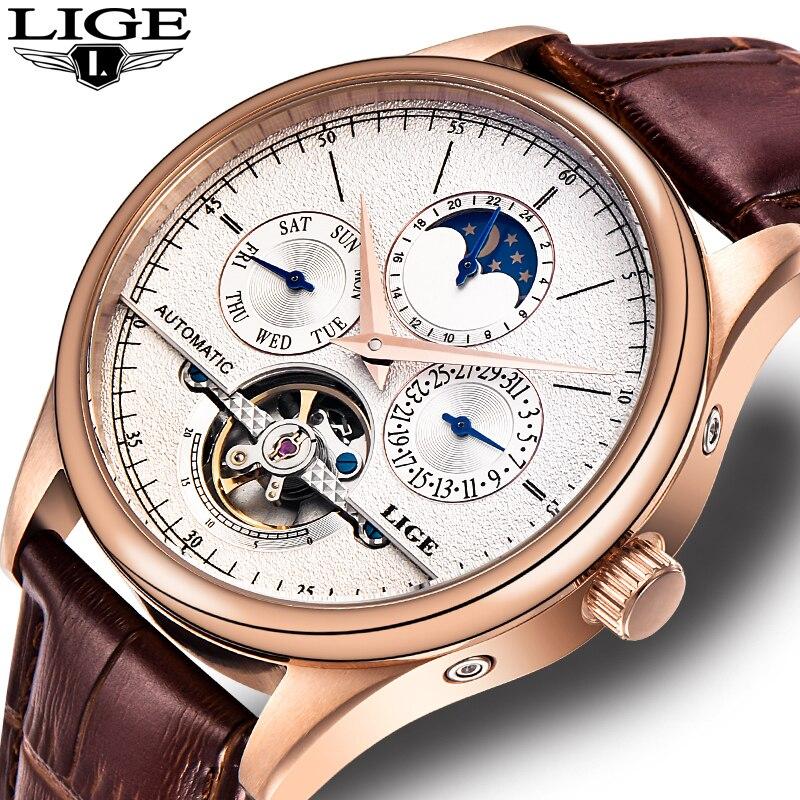 Montres homme Automatique montre mécanique tourbillon horloge décontracté en cuir d'affaires montre-bracelet relojes hombre top marque LIGE N0.1