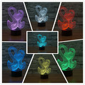 Doble ganso con corazón novelty regalos 3d de 7 colores de luz cambiante colorido toque visual led atmósfera luz de la lámpara de mesa de regalos