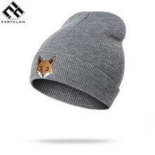 Evrfelan Marca Fox Delle Donne Del Cappello di Inverno Lavorato A Maglia  Berretti Solido Puro Cotone Cappelli di Inverno Degli U.. a1ec6552048b