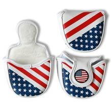 купить NEW USA Flag Mallet Putter Cover Leather Golf Headcover Headcover Magnetic Closure free shipping по цене 1035.59 рублей