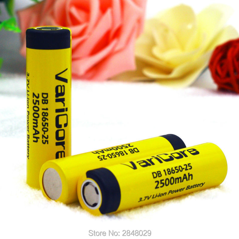 3 PCS. VairCore DB-18650-25 18650 3.7 V 2500 mAh IMR18650 35A charged battery High Capacity 20A maximum switching descargaE4