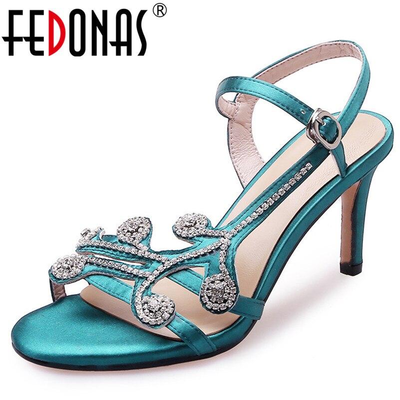 c08ccdfe4 FEDONAS/женские элегантные туфли-лодочки, новые модные босоножки высокого  качества со стразами на высоком каблуке, женская обувь с пряжкой на р.