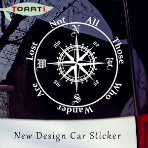 Image 1 - Not All Those Who Wander Are Lost Compass Car Sticker Reflective Removable Pvc Art Words Door Decor Decals Adhesive