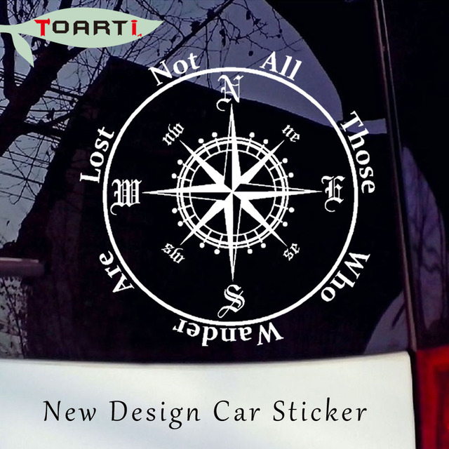 Not All Those Who Wander Are Lost Compass Car Sticker Reflective Removable Pvc Art Words Door Decor Decals Adhesive