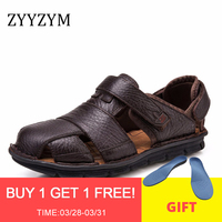 ZYYZYM Genuine Leather Men Sandals Superior Quality Luxury Summer Shoes Men Fashion Sandalias Beach Shoes Soft Bottom Breathable