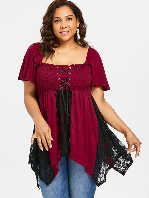 82ecbd0617b Wipalo Plus Size 5XL Lace Up Smocked Bust Handkerchief T-Shirt Women Square  Neck Short