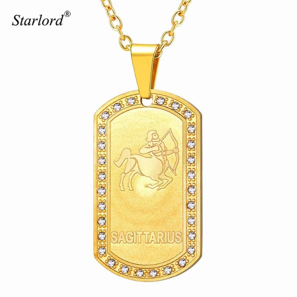 Starlord Tanda Zodiak Sagitarius Liontin Kalung untuk Pria/Wanita Emas Anjing: Kalung Constellation Hadiah Perhiasan GP3608