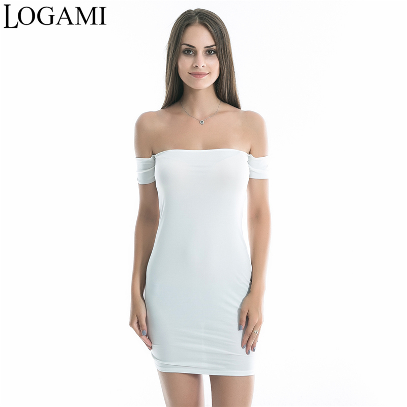 LOGAMI Women Off Shoulder Dress Summer Sexy Bodycon Mini Dress Ladies Party Dresses Club Wear Vestidos De Festa 2017