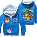 Inverno camisola de Algodão Dos Desenhos Animados POKEMON IR Pikachu Crianças roupas das meninas dos meninos hoodies manga longa com zíper varejo 1 pcs