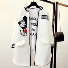 Fashion women long baseball uniform ladies loose cartoon pattern jacket female Casual outwear women's spring autumn coat LX6005